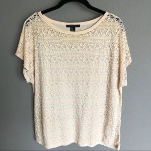 Forever 21 Pink Lace Short Sleeve Top Size M